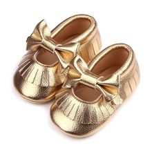 Girls Mary Jane Flower Baby Shoes PU Leather Baby Moccasins Gold Bow Girls First Walker Toddler Moccs zapatos girls