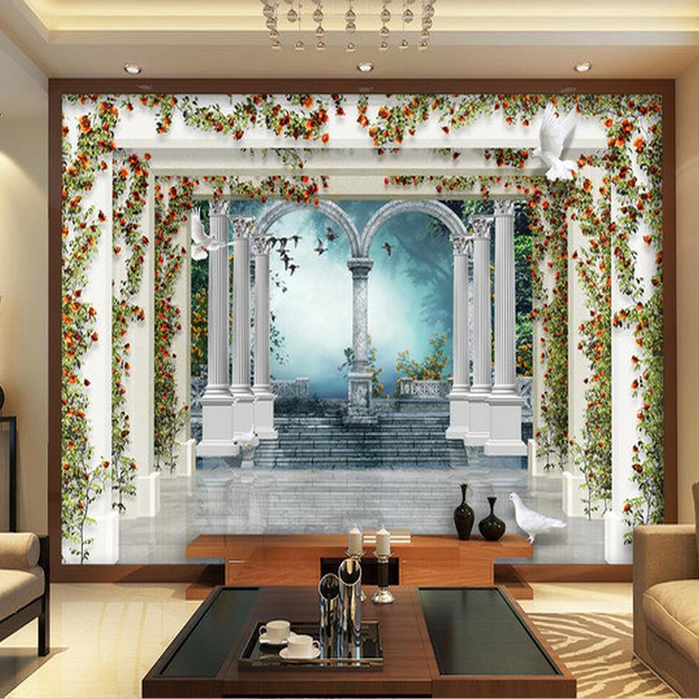 European marble pillar rose 3d wallpaper balcony mural abstract wallpaper rolls 3d wall murals - 3d wandbilder wohnzimmer ...