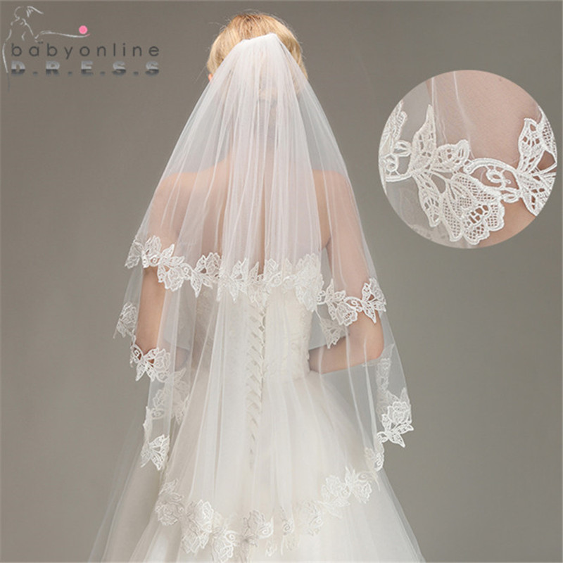 Wedding-Veil Short Lace-Edge Fingertip Voile Comb Mariage Tulle Soft Two-Layer With Bridal