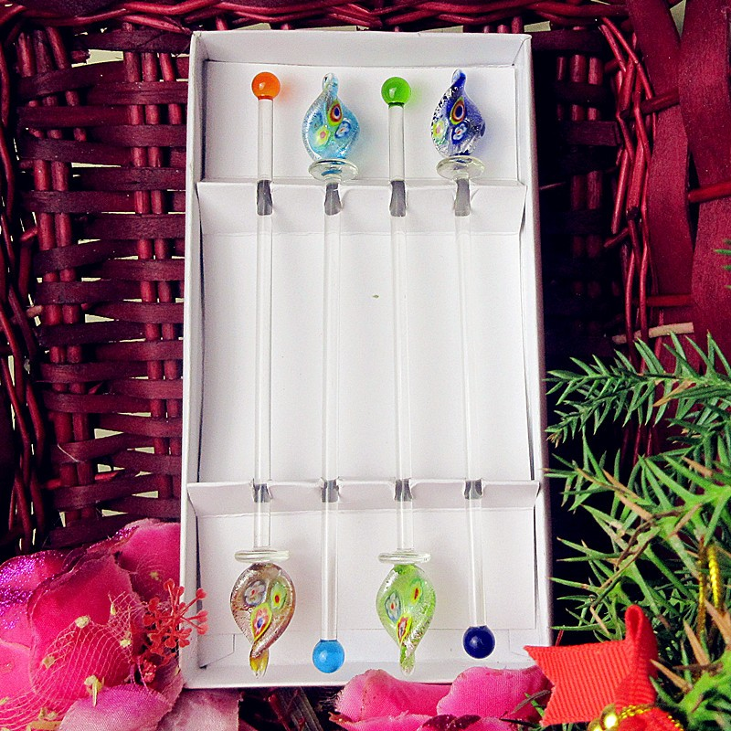 Handmade custom Creative Mixing Cocktail Stirrers Sticks murano glass Swizzle sticks for Party Kitchen Night club Accessories in Other Bar Accessories from Home Garden