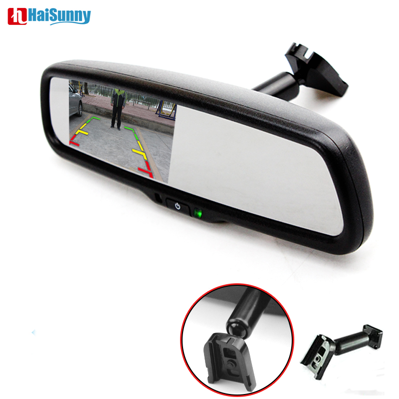 HaiSunny 4.3 HD TFT 800*480 LCD Car Parking Mirror Monitor With Original Bracket 2 Video Input For Rear view Camera sinairyu hd 800 480 car mirror monitor 5 tft lcd mirror car parking rear view monitor 2 video input connect rear front camera