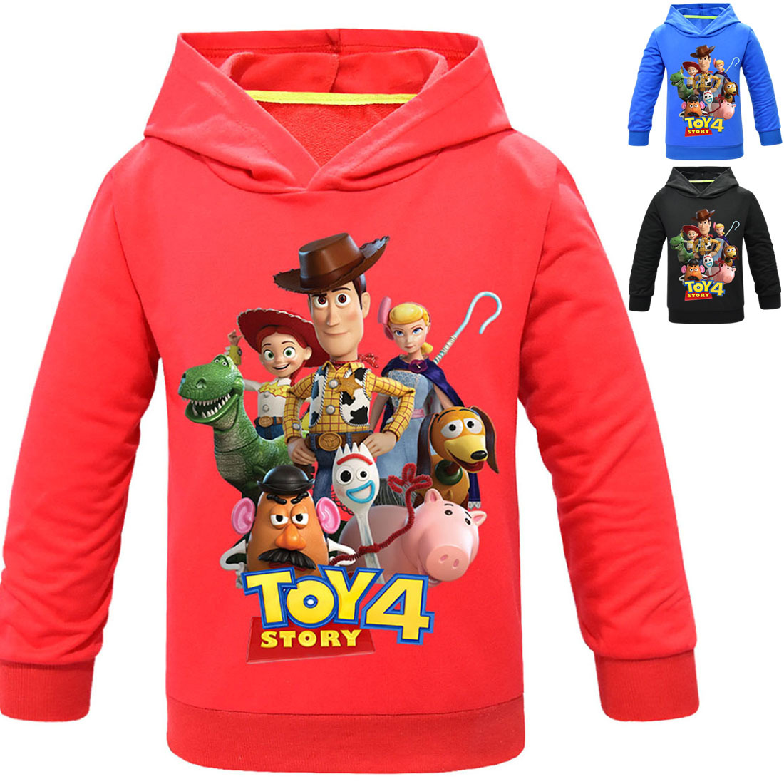 Toy Story 4 Forky Alien Hoodies Swearshirts Casual Long Full Sleeve Hoodies Streetwear Hip Hop Pullover T-shirt 4-12T Boy Girl(China)
