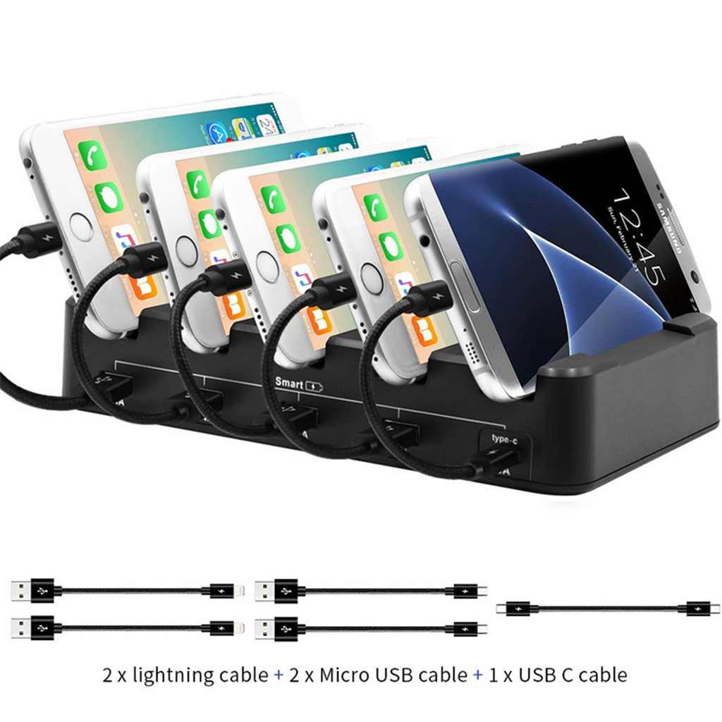 USB Charger Station 5 Port Fast Charging Station 2 4A USB 3A Type C Multi Function US EU Version for Phone iPhone 7 iPad Samsung in Mobile Phone Chargers from Cellphones Telecommunications