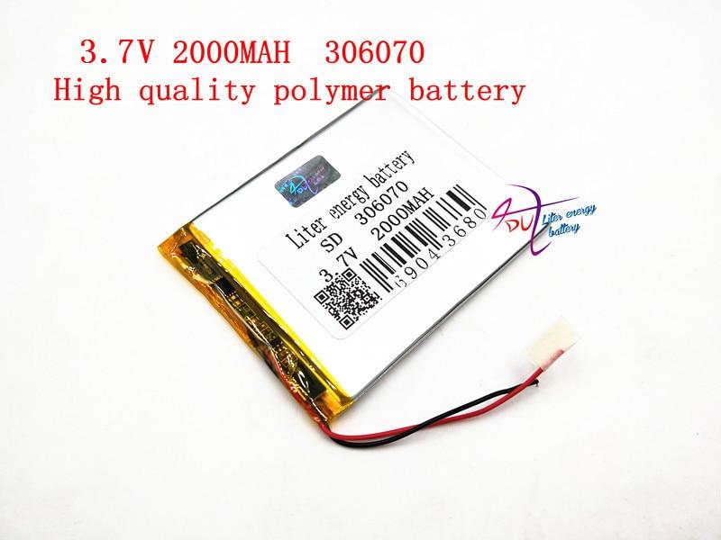 3,7 V 306070 2000 mAh batería recargable del LiPo del polímero del litio energía de células para PAD GPS Vedio juego E-Book Tablet PC banco de la energía