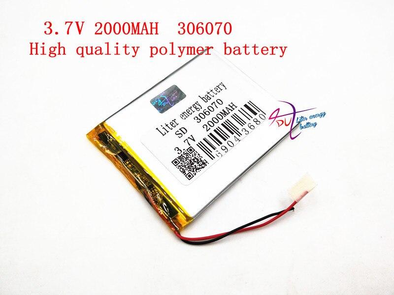 3,7 V 306070, 2000 mAh polímero de litio LiPo batería recargable células de PAD GPS video juego de e-book Tablet PC Banco de la energía