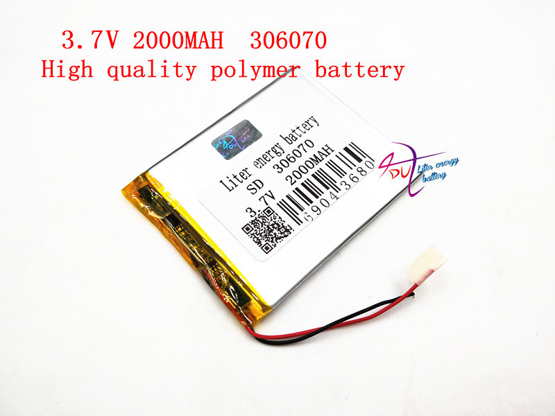 3.7V 306070 2000mAh Lithium Polymer LiPo Rechargeable Battery cells power For PAD GPS Vedio Game E-Book Tablet PC Power Bank 3 7v 2500mah lithium polymer lipo rechargeable battery cells power for pad gps psp vedio game e book tablet pc power bank 405080