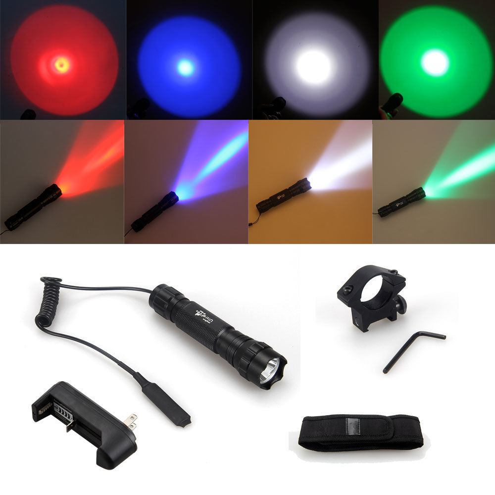 Q5 white light blue green and red purple suit flashlight