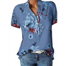 S-5XL Elegant Floral Print Blouse Women Short Sleeve Plus Size Loose V Neck Blouse Shirt Womens Tops and Blouses Blusas Mujer fashionable women s bat sleeve ethnic print scoop neck blouse