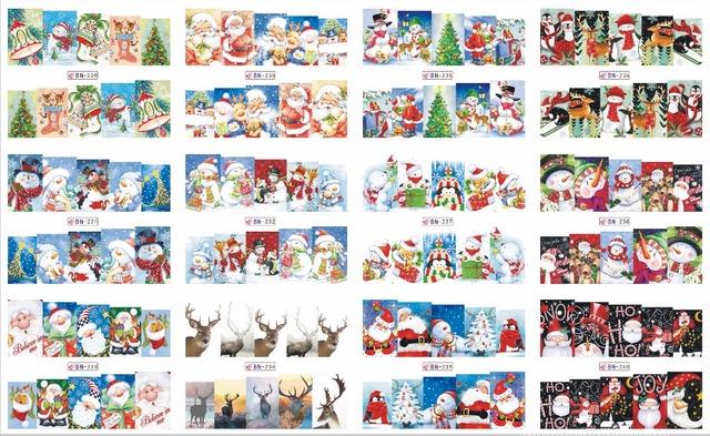 En venta!! 1 lote por 10 artículos 12 Nuevo Estilo Nail Art Water Sticker árboles De Navidad y zapatos en 2016 para BN229-240