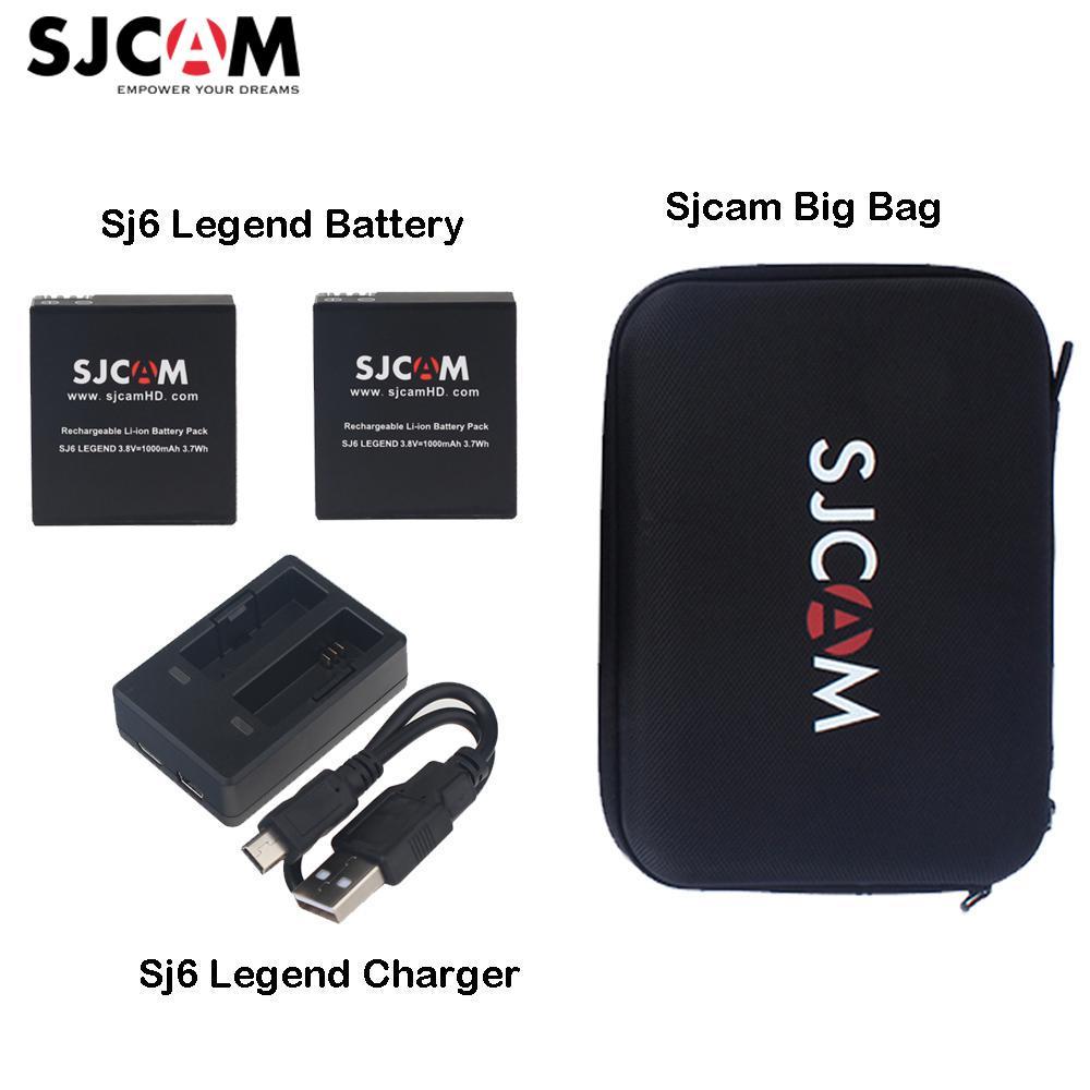 D'origine Sjcam Sj6 Légende Accessoires 1 PC Double Chargeur + 2 PCS Batteries + Sjcam Grand Sac pour Sjcam Sj6 légende Action Sports Caméra