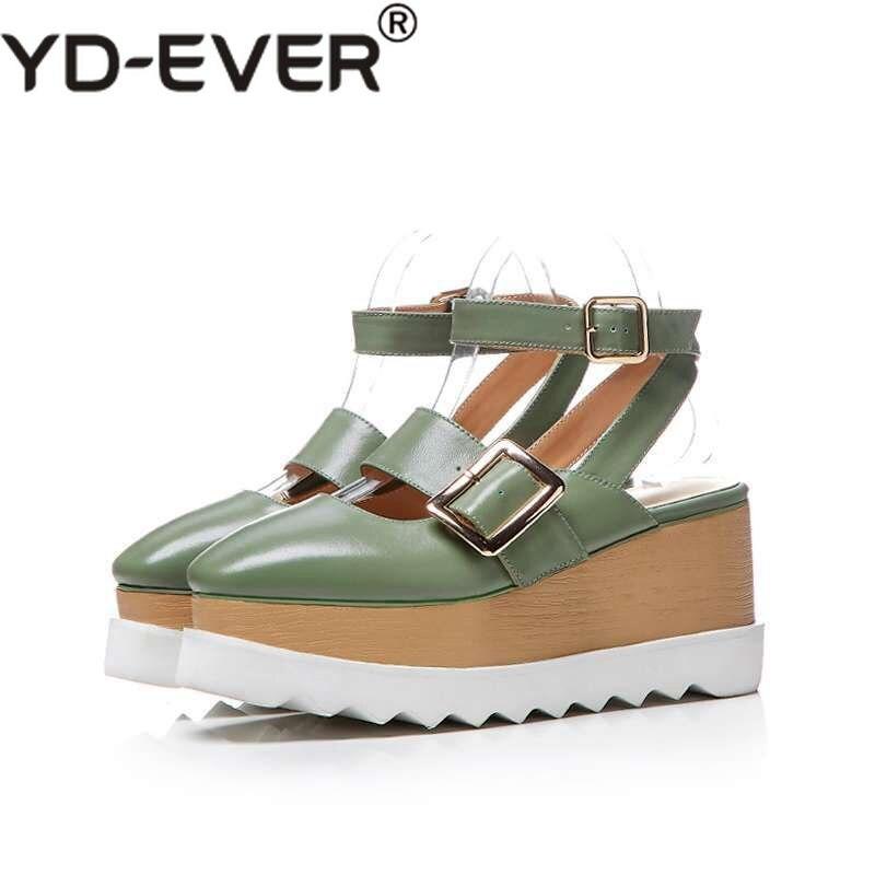 Sandales Mode Parti D'été Talons Plate Carré Véritable Hauts En Cheville Bretelles Chaussures Beige forme Bout Cuir vert Bas Femmes Épais ZTqZr7xO