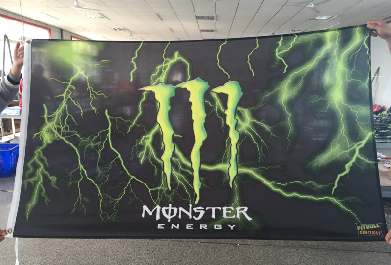 3X5FT monster Flag digital printed banner Polyester 90x150cm white sleeve with 2 Metal Grommets