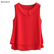 2019 summer New plus size Chiffon Blouse For Women Tops And Blouses Double layer collar sleeveless Femme Blusas Femininas