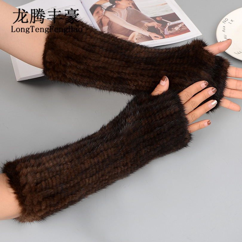 40cm Women Gloves & Mittens 2017 Winter Warm Fingerless Gloves Knitted Mittens 100% Real Mink Fur Gloves Women Long Gloves Lady