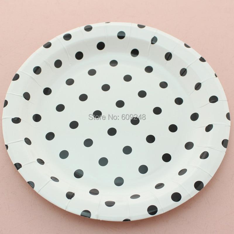 24pcs 9 black polka dot round paper plateseco friendly halloween graduation holiday party - Decorative Paper Plates