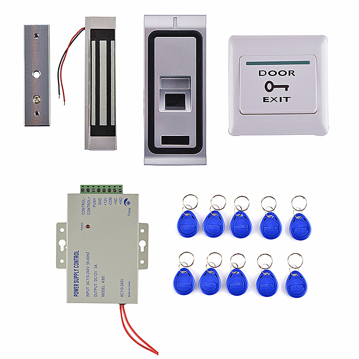 Power Supply +Fingerprint Access Control System With 125KHZ ID Card Reader +300 LBS Magnetic Lock weigand reader door access control without software 125khz rfid card metal access control reader with 180 280kg magnetic lock