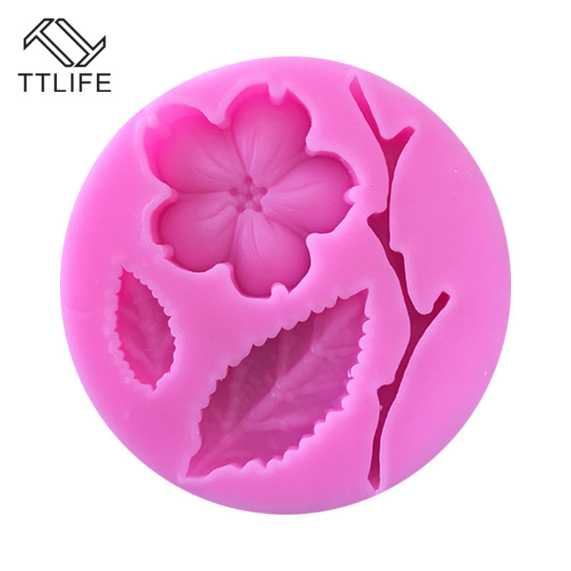 TTLIFE Plum Blossom Branch Silicone Mold Flowers Leaf Fondant Cake Baking Moulds Sugar Craft Pastry Chocolate Decorating Tools in Cake Molds from Home Garden