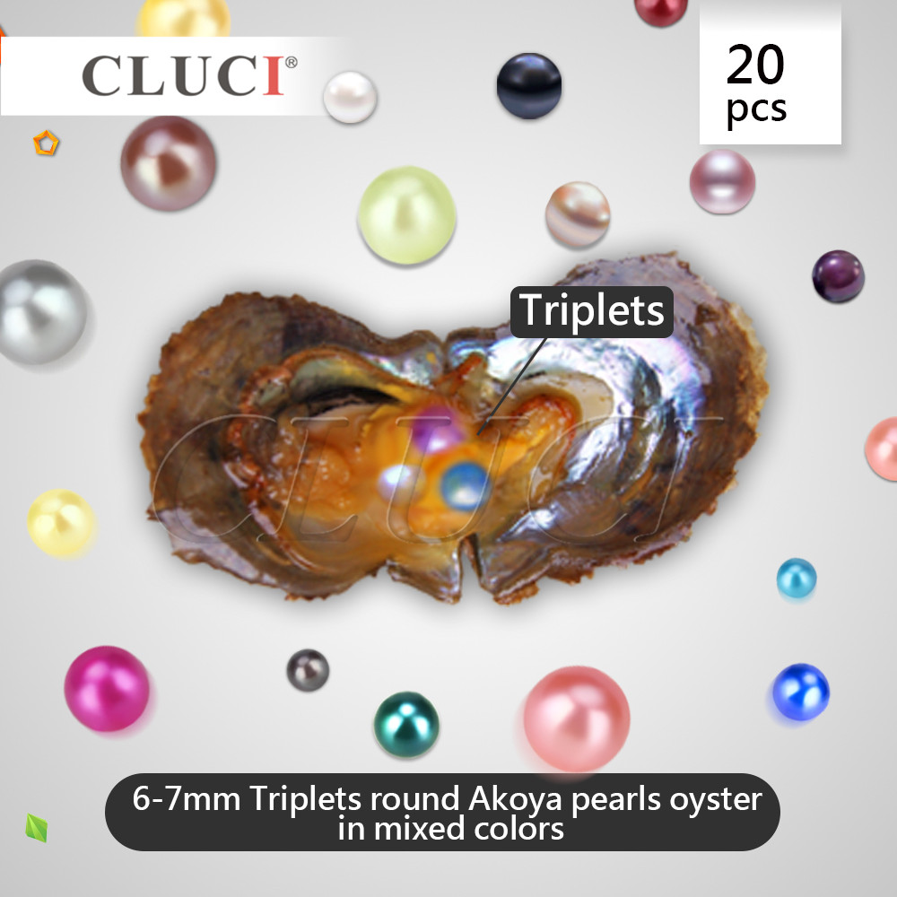 CLUCI Triplets Pearl Oysters, 20pcs 6-7mm AAA saltwater pearls in oysters, MIXED raindom colors oysters ufa cherry