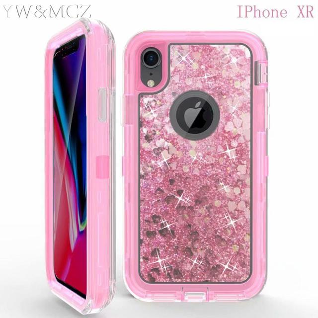 super popular 2e314 c7f61 US $8.99 |Dynamic Glitter Liquid Armor Case For iPhone xs max xr x Women  Quicksand Hybrid Cover For iPhone 6 s 7 8 plus Case Defender-in Fitted  Cases ...