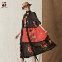 Jiqiuguer Для женщин осень Цветочный Повседневное платья печати o образным вырезом 100% рами пуловер Лоскутная Половина рукава до середины икры