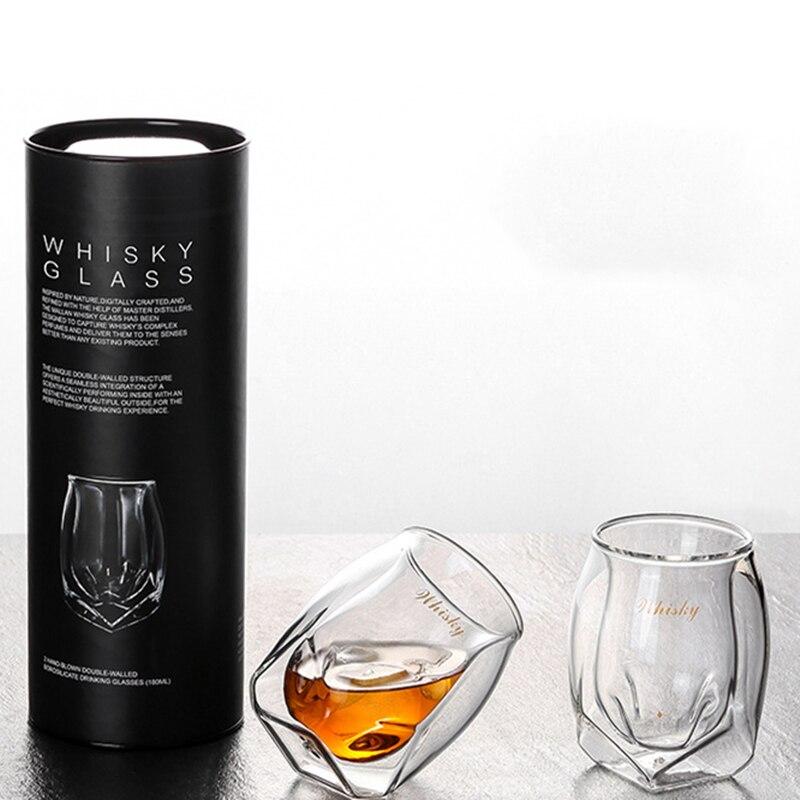 2 個クリエイティブ四コーナー鉛フリーガラスギフト用ウイスキーガラス人格ウイスキーグラスワイングラスドロップシッピング  グループ上の ホーム&ガーデン からの 透明 の中 1