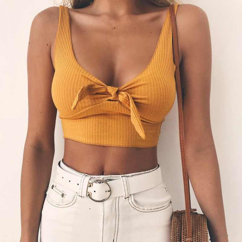 Ribbed Bow Tie Camisole Tank Tops ผู้หญิงฤดูร้อนพื้นฐาน Streetwear แฟชั่น 2019 Cool หญิง Cropped Tees Camis