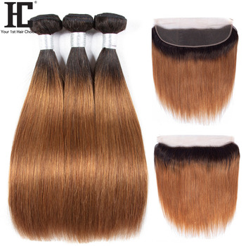 HC Ombre Bundles With Frontal 1B30 Ombre Brazilian Hair Weave Remy Straight Human Hair 3 Bundles With Ear To Ear Lace Frontal
