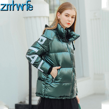 2019 Glossy Winter Down Cotton Padded Jacket for Women Thick Bright Green Short Shiny Letter Print Loose Parkas