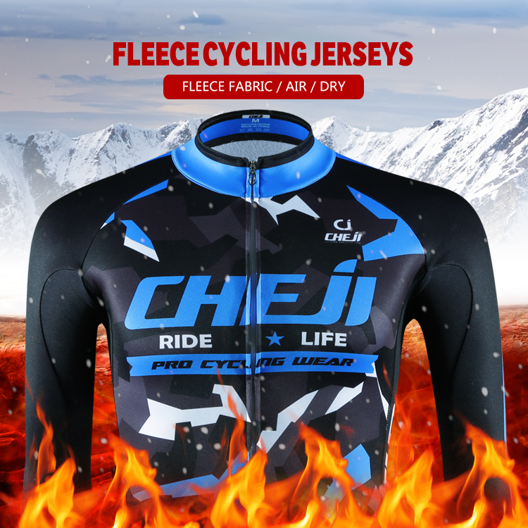 New Winter Pro Cycling Jersey Men Cheji Blue Black Print Fleece Cycle Clothing Mens Long Thermal Bike Clothes Sprots Wear China black thermal fleece cycling clothing winter fleece long adequate quality cycling jersey bicycle clothing cc5081