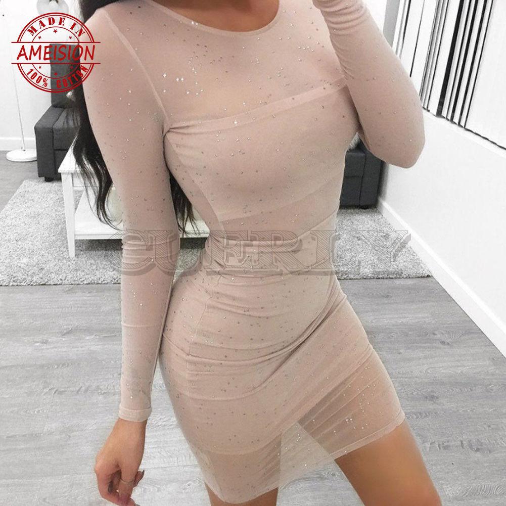 New Sexy Women's Bodycon Skinny Sheath Slim Long Sleeve O Neck Summer Clubwear Dress Ladies Cocktail Party Mini Dress
