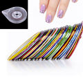 30Pcs Nail Art Stickers Liner Striping Tape Colorful Manicure Stickers With 1pc Roller Box Holder Case