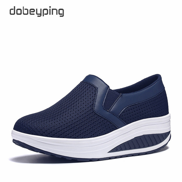 Women s Swing Shoes Air Mesh Woman Loafers Flat Platforms Female Shoe  Casual Wedges Ladies Shoes Height Increasing Footwear 4e4691b9eb54