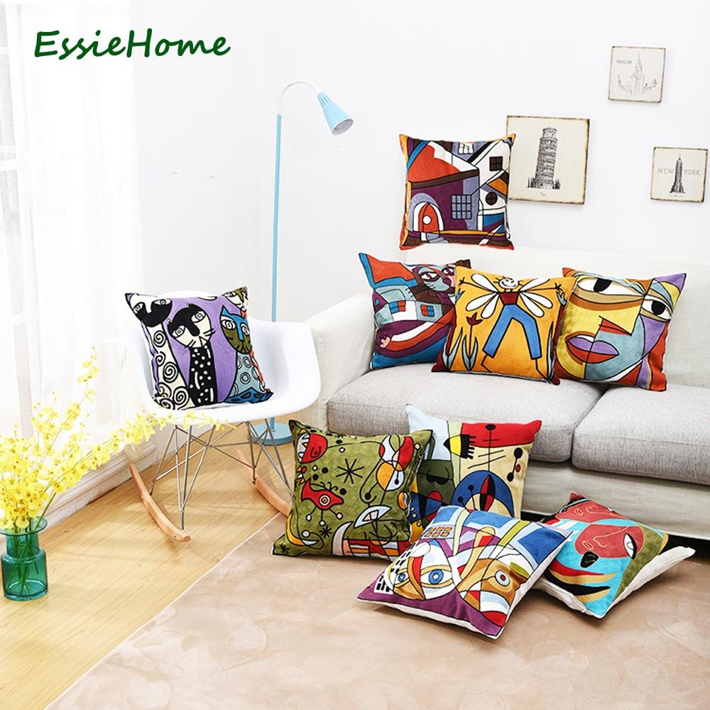 """ESSIE HOME Teljes hímzéslánc hímzés 18 """"magas végű Picasso absztrakt festmények párnahuzat piros kék dobás hímzés tabletták"""