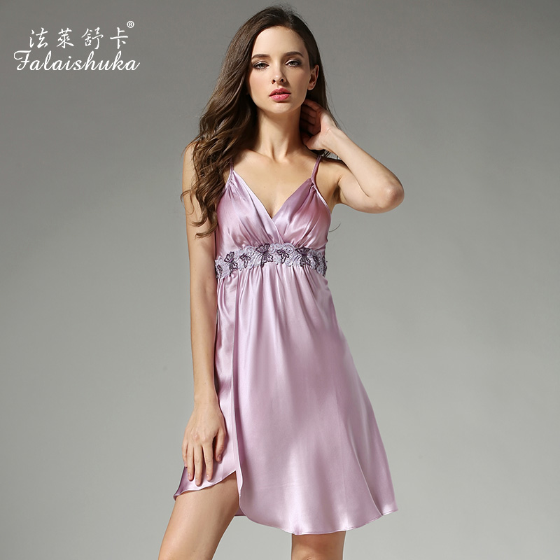 2019 Summer Women Silk   Nightgowns   Sexy Deep V Lace Nightdress 100% Mulberry Silk   Sleepshirts   Sleeveless Silk Sleepwear D12012