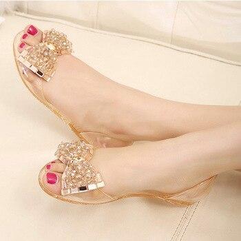 Women Sandals Bowtie Summer Jelly Shoes Woman Peep Toe Flat Sandals Casual Crystal Chaussures Femme Slipper Women Summer Sandals