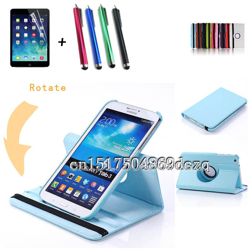 Stylus protective film high quality 360 Rotating PU Leather Case For Samsung Galaxy Tab 3 8