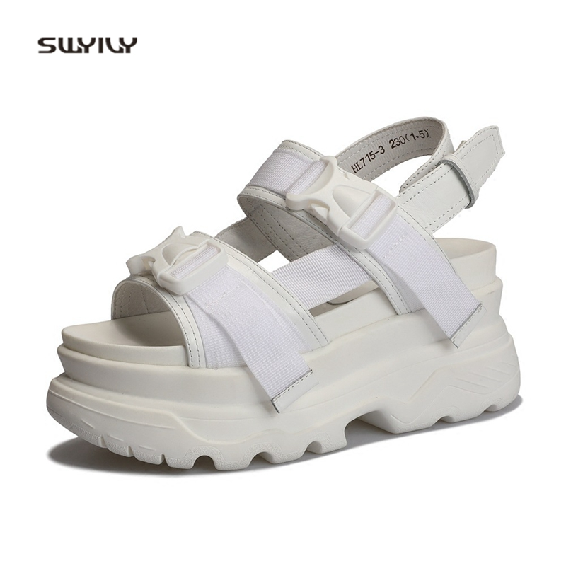 SWYIVY Womens Sandals Rome Shoes Platform Genuine Leather Woman Beach Casual Shoes 2018 Buckle Lady Sandals Thick Bottom 34