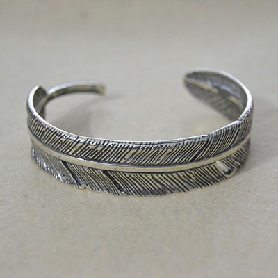 925 Sterling Silver Retro Thai Silver Personality men's Bracelet Feather Hand Bangle personality feather tassel belt