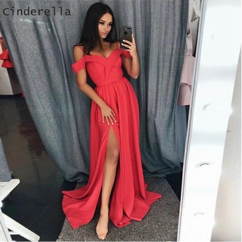 Cinderella Side Slit Sweetheart Spaghetti Straps Evening Gowns Floor Length Satin Evening Dresses Off The Shoulder