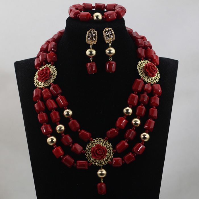 Dubai African Quality Wine Red Coral Beads Bridesmaid Necklace Set Pendant Indian Real Coral Bridal Jewelry Set Free ShipABL871