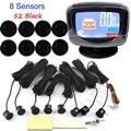 Auto Parking Sensor LCD Display monitor Parktronic sensor car detector 44 Colors Backup 8 sensors 12V backup reverse