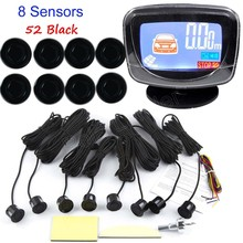 Auto Parking Sensor LCD Display monitor Parktronic sensor car detector 44 Colors Backup 8 sensors 12V backup reverse