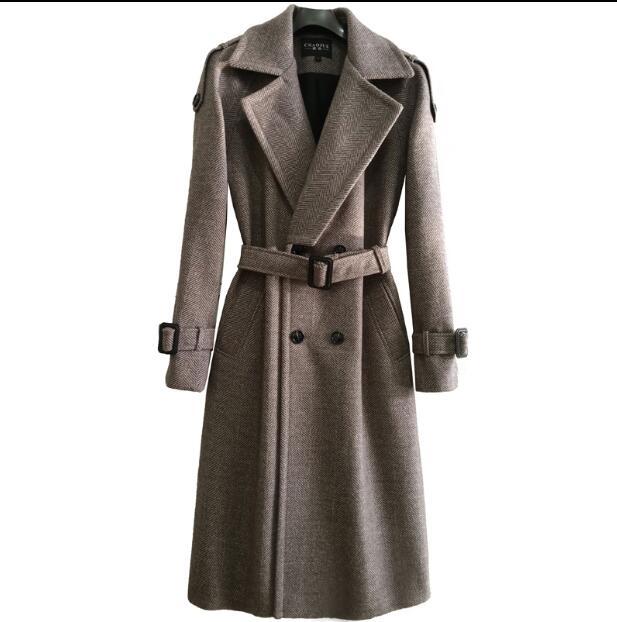 Men's long herringbone coat over the knee male 2020 autumn and winter new retro raglan woolen coat super long coat