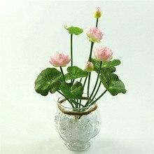 46 см моделирование маленький Лотос Цветы Поддельные PU водяная Лилия DIY Главная Свадьба садовый стол Декор лотоса завод Искусственные цветы подарок
