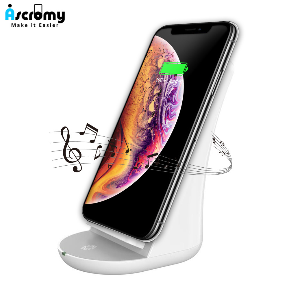 ascromy wireless charger stand bluetooth speaker for. Black Bedroom Furniture Sets. Home Design Ideas