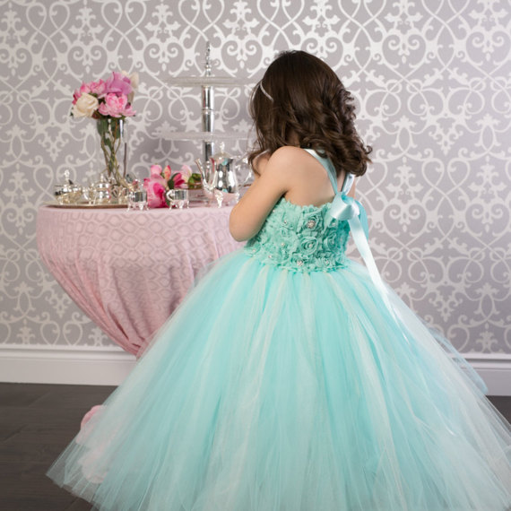 Tiffany Green Girl Princess Tutu Vestido Fiesta De