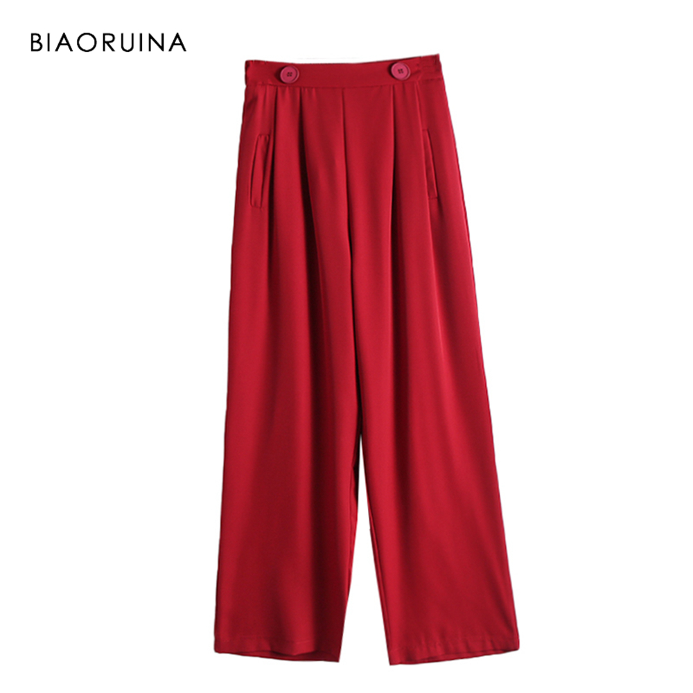 BIAORUINA Women Casual Solid   Wide     Leg     Pant   Female Loose Straight   Pant   Ladies Elegant High Waist   Pant   Trousers New Arrival