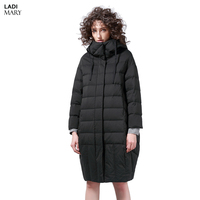 LADIMARY Women's Winter Zipper White Duck Down Down Jackets High Quality Warm Female Parka Hood Over Coat For Women LM360085