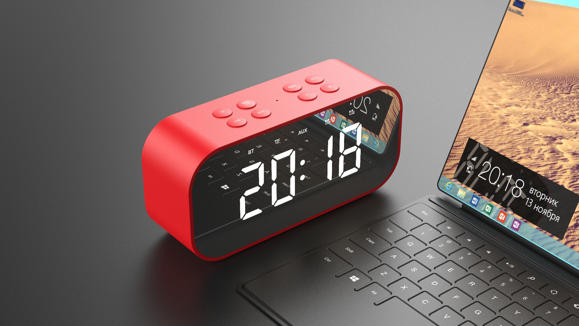 Mirror Music Sound Box LED Time Snooze Alarm Clock for Laptop Phone 5