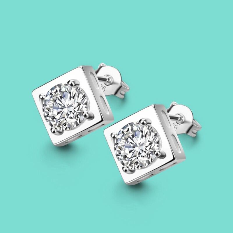 Minimalist 925 Sterling Silver Stud Earrings Geometric Elements Square Ear Pendant Design Zircon Inlay Lady Lady Charm jewelry